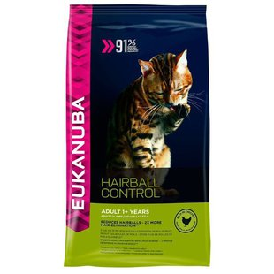 Eukanuba Adult Dry Cat Food Hairball Control Chicken (2 кг)