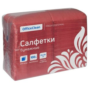 Салфетки OfficeClean красные 24 х 24